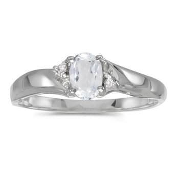 Sterling Silver Oval White Topaz And Diamond Ring