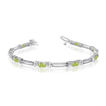 10k White Gold Natural Peridot And Diamond Tennis Bracelet