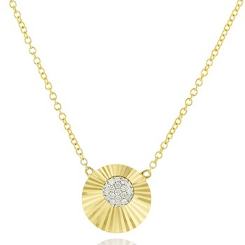 Yellow gold diamond mini Aura necklace