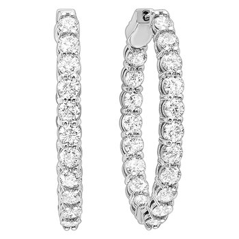 In-Out Diamond Hoop Earrings in 14K White Gold (1 ct. tw.) I2/I3 - H/K