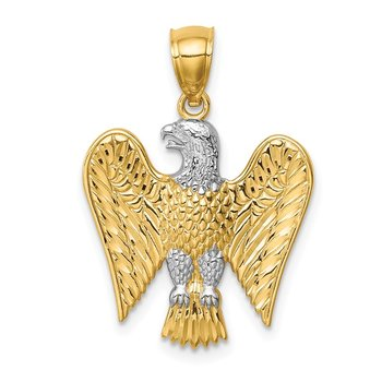 14K w/White Rhodium Eagle Pendant