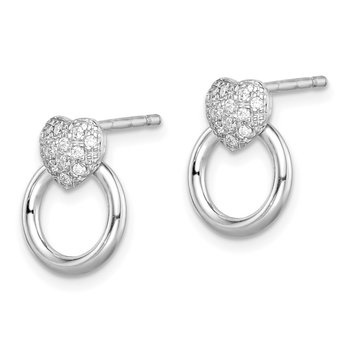 Sterling Silver Rhodium-plated CZ Heart and Circle Post Earrings