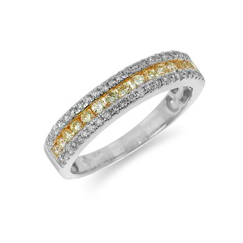 14K WG White and Fancy Yellow  Diamond Band a Row of Fancy Yellow Diamonds in Between Two Rows of Sparkling White Dia in Split Prong and Nick Setti