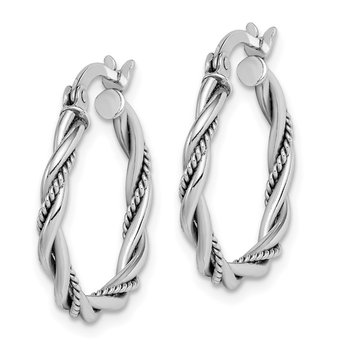 Sterling Silver RH-plated Antiqued 2x20mm Twisted Hoop Earrings