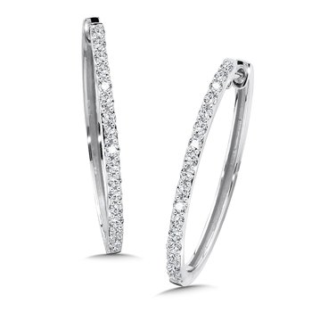 Diamond Hoops in 14k White Gold (1 ct. tw.)