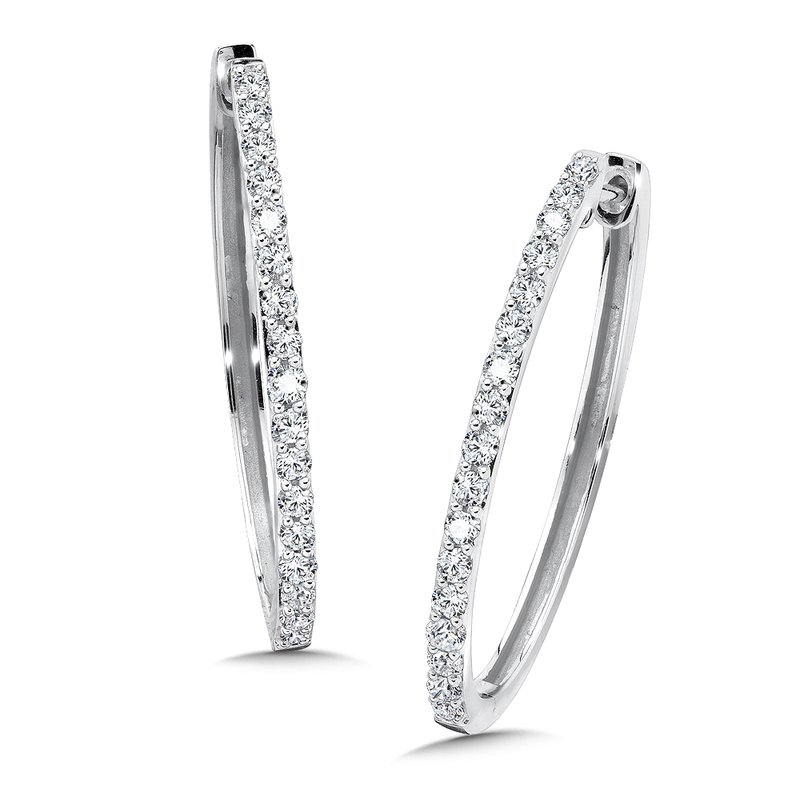 SDC Creations Diamond Hoops in 14k White Gold (1 ct. tw.)