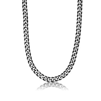 Stainless Steel Black Ion Plated Thick Two Tone Curb Chain Necklace - 11 MM Wide, 22 Inches Length with Fold-Over Clasp