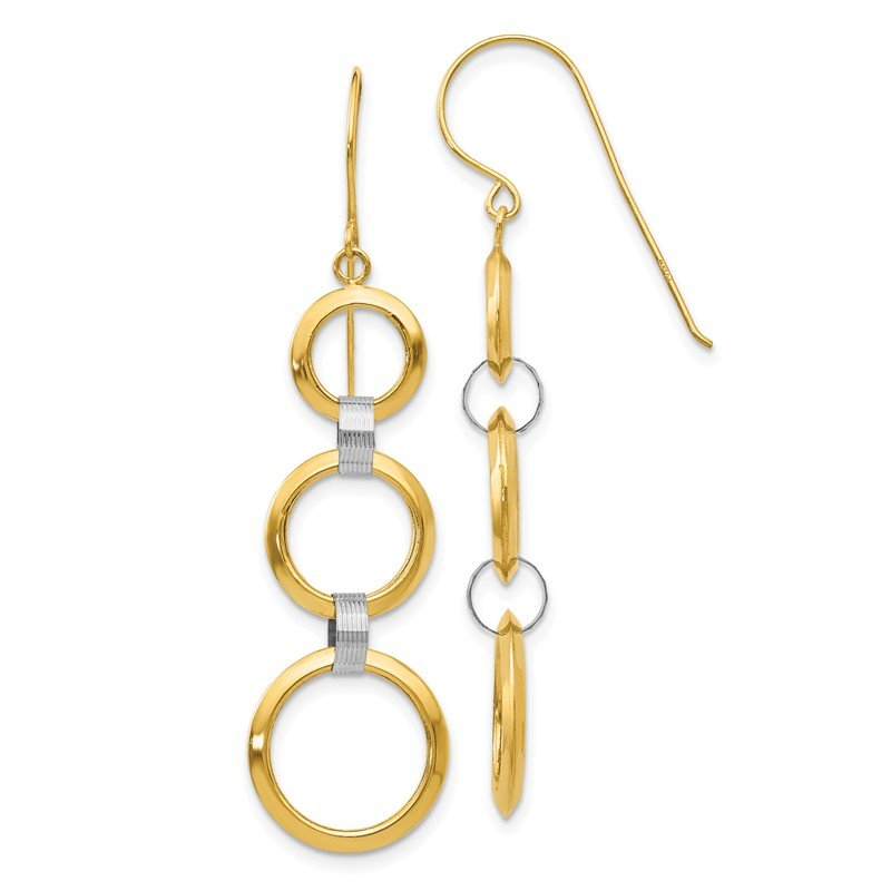 Quality Gold 14K Two-tone Hollow Open Circle Dangle Earrings