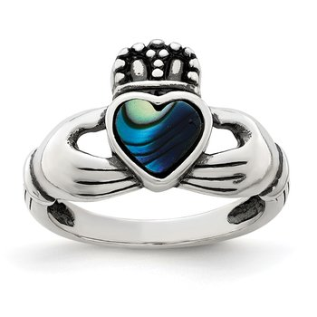 Sterling Silver Antiqued Abalone Inlay and Black Enamel Claddagh Ring