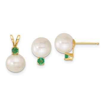 14k 7-8mm White FW Cultured Pearl & Emerald Stud Earrings & Pendant