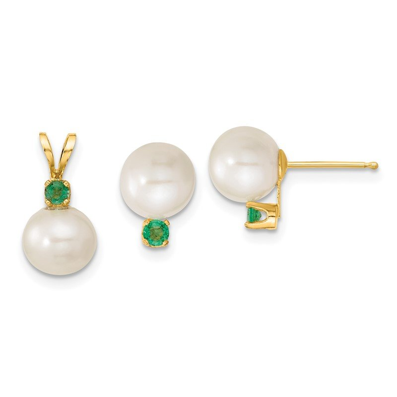 Quality Gold 14k 7-8mm White FW Cultured Pearl & Emerald Stud Earrings & Pendant