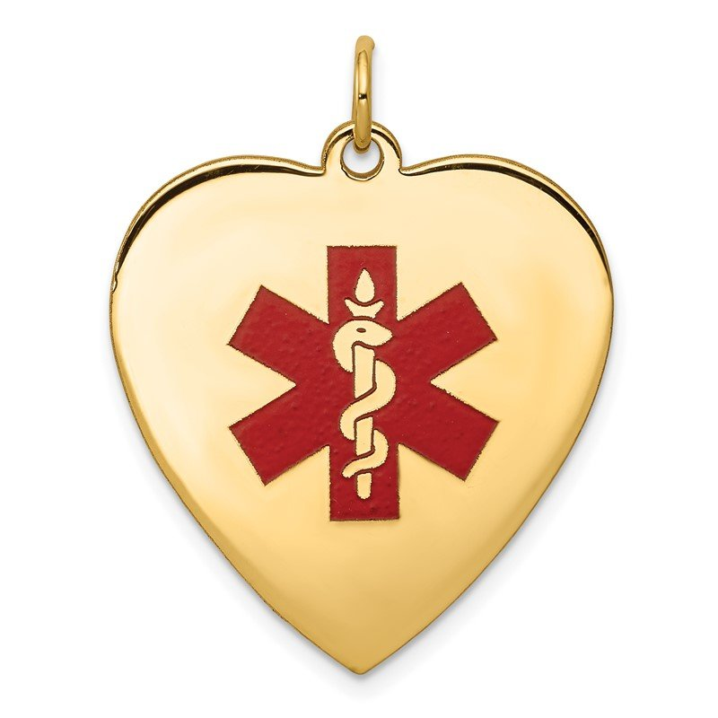 Quality Gold 14k Heart-Shaped Enameled Medical Jewelry Pendant