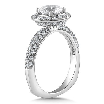 Diamond Halo Engagement Ring Mounting in 14K White Gold with Platinum Head (.72 ct. tw.)