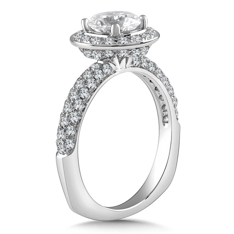 Caro74 Diamond Halo Engagement Ring Mounting in 14K White Gold with Platinum Head (.72 ct. tw.)