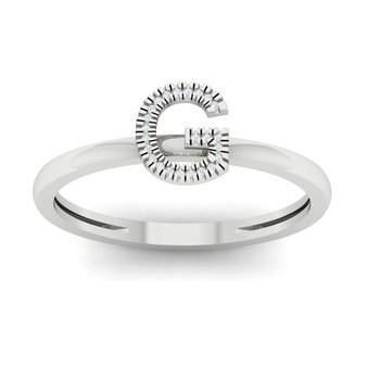 Diamond Initial G Stackable Ring in White Gold (0.03ctw)