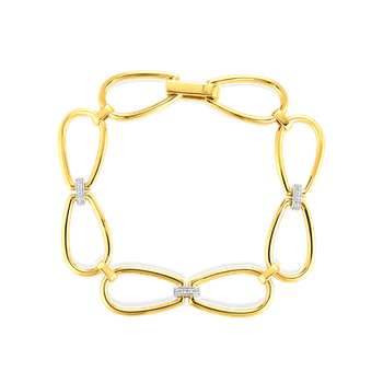 #28012 Of 18K Stirrup Link Bracelet W. Dia Accent