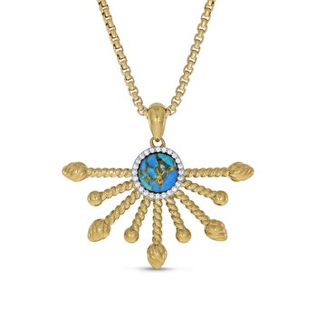 LuvMyJewelry Day Break Turquoise & Diamond Pendant in Sterling Silver & 14 KT Yellow Gold Plating