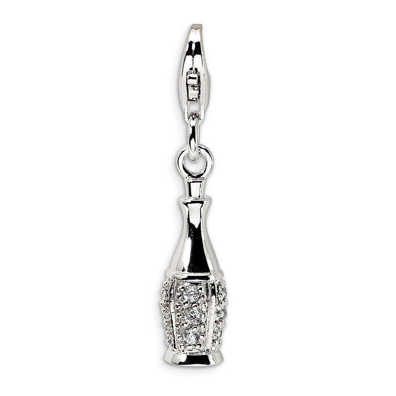 Quality Gold Sterling Silver CZ Champagne Bottle w/Lobster Clasp Charm