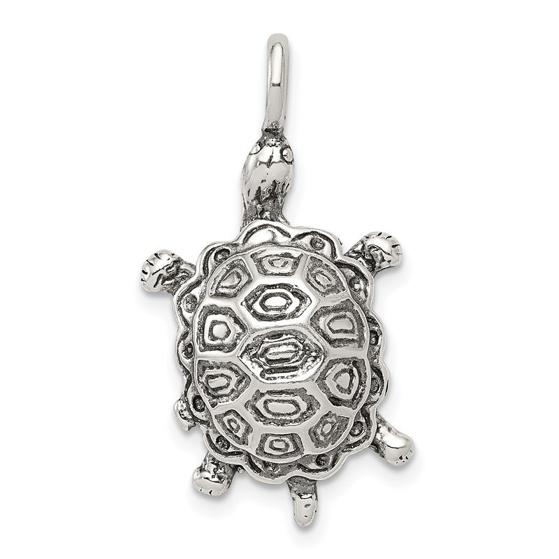 Quality Gold Sterling Silver Antiqued Turtle Pendant
