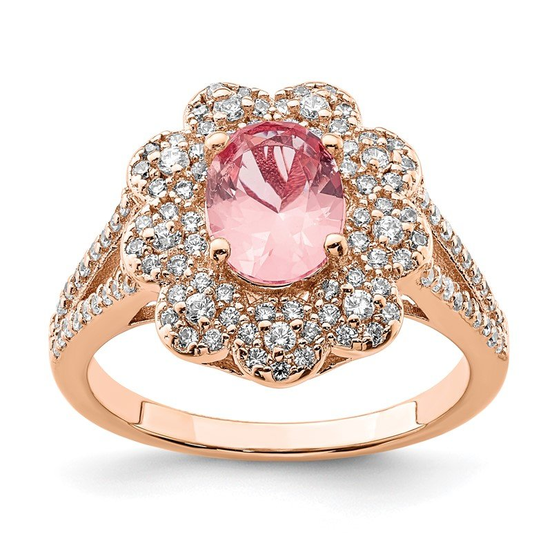Quality Gold Sterling Silver Rose Gold-plated Imitation PinkSapphire/CZ Ring