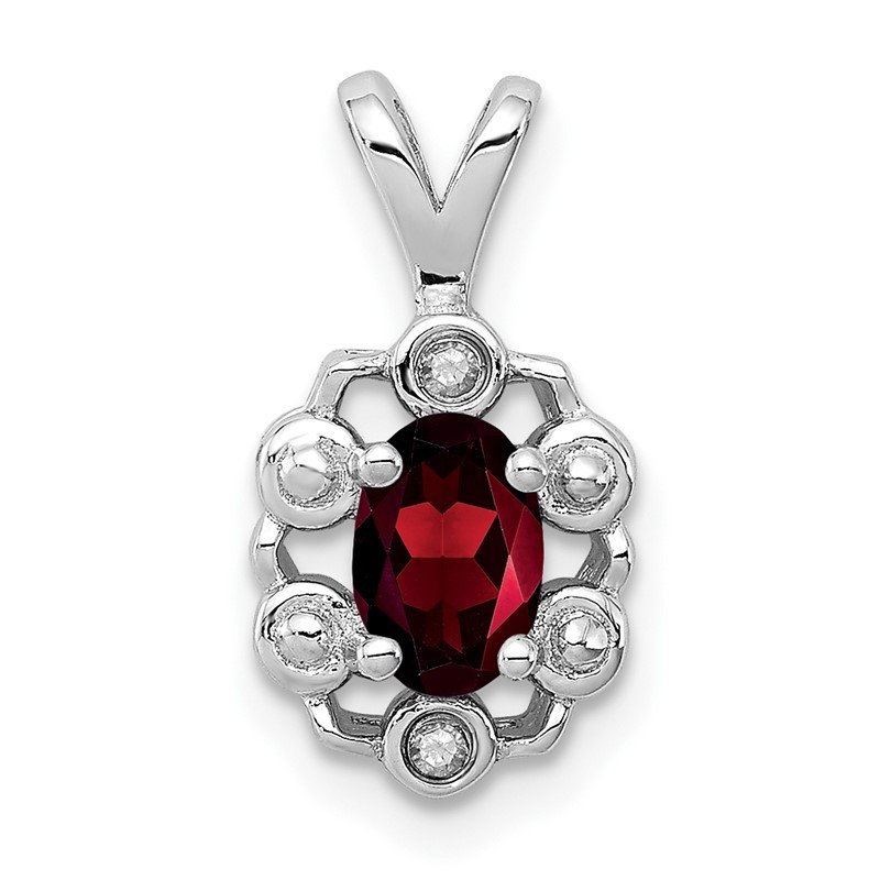 Quality Gold Sterling Silver Rhodium-plated Garnet & Diam. Pendant