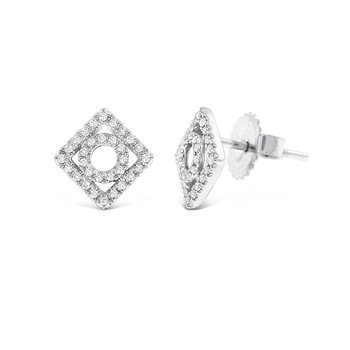 Diamond Geometric Earrings in 14K White Gold with 62 Diamonds Weighing .18 ct tw