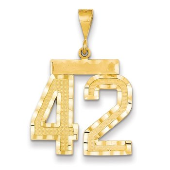 14k Large Diamond-cut Number 42 Charm