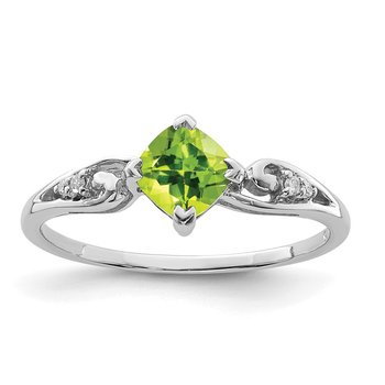 Sterling Silver Rhodium Plated Diamond and Peridot Cushion Ring