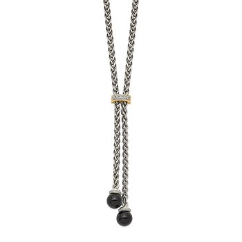 Sterling Silver w/14k Onyx & Diamond Lariat Necklace