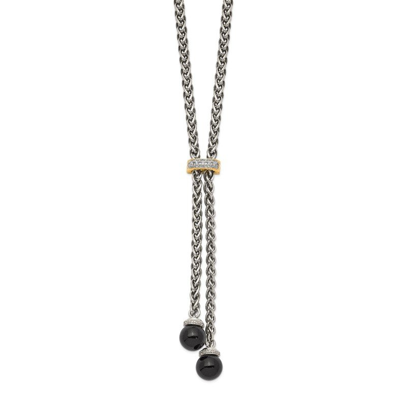 Quality Gold Sterling Silver w/14k Onyx & Diamond Lariat Necklace