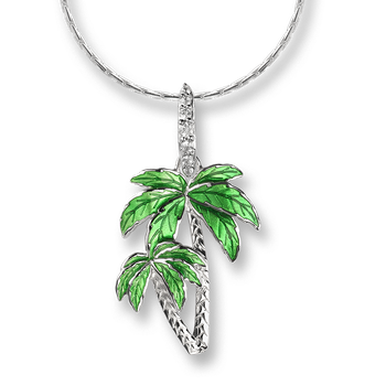 Sterling Silver Palm Tree Necklace-Green.  White Sapphires.