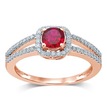 14K 0.25 Ct  Diamond  Ruby   Ring