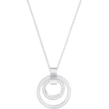 Hollow Pendant, White, Rhodium plated