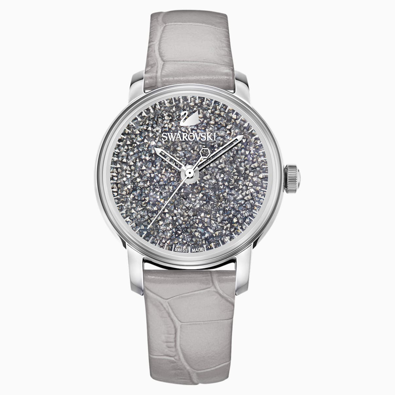 Swarovski Crystalline Hours Quartz Watch, Leather strap, Gray, Stainless steel