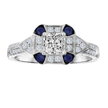 14KW 0.70CTW PR CTR WITH SAPPHIRE BRIDAL RING