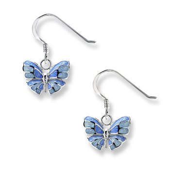 Blue Butterfly Wire Earrings.Sterling Silver