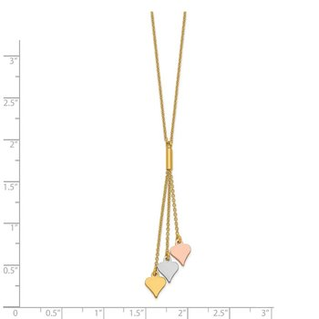14K Tri-color Polished Spades w/2 in ext Necklace