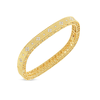 Satin Finish Slim Bangle With Fleur De Lis Diamonds &Ndash; 18K Yellow Gold