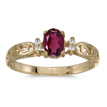 14k Yellow Gold Oval Rhodolite Garnet And Diamond Filagree Ring