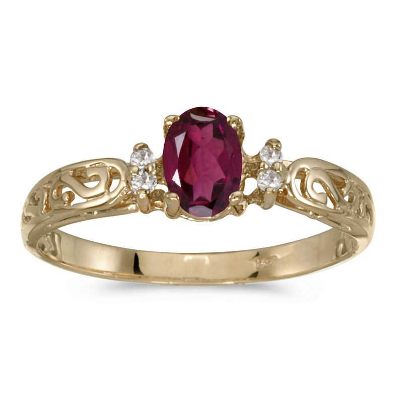 Color Merchants 14k Yellow Gold Oval Rhodolite Garnet And Diamond Filagree Ring