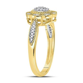 10kt Yellow Gold Womens Round Diamond Milgrain Cable Cluster Ring 1/8 Cttw