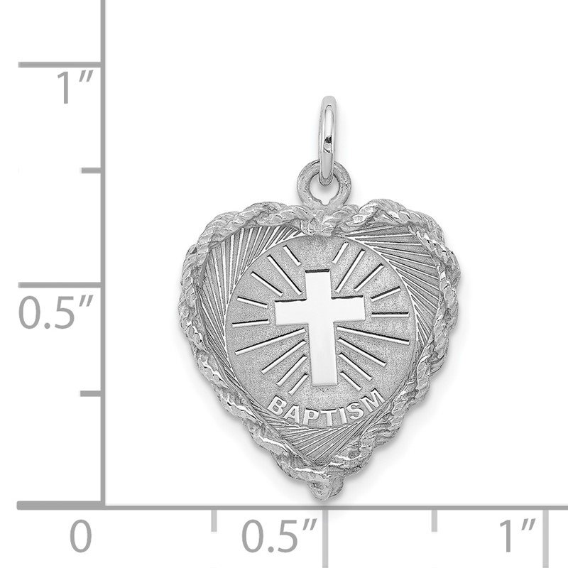 Quality Gold Sterling Silver Rhodium-plated Baptism Disc Charm
