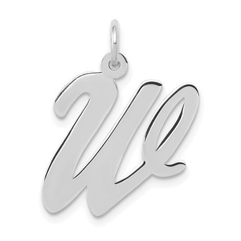 14k White Gold Large Script Letter W Initial Charm