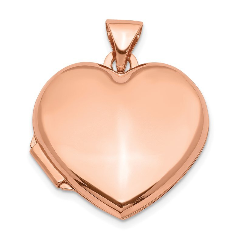 Quality Gold 14k Rose Gold 18mm Domed Heart Locket