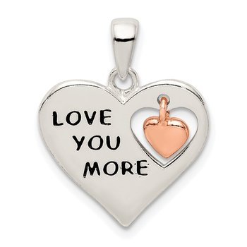 Sterling Silver & Rose Enamel LOVE YOU MORE Heart Pe