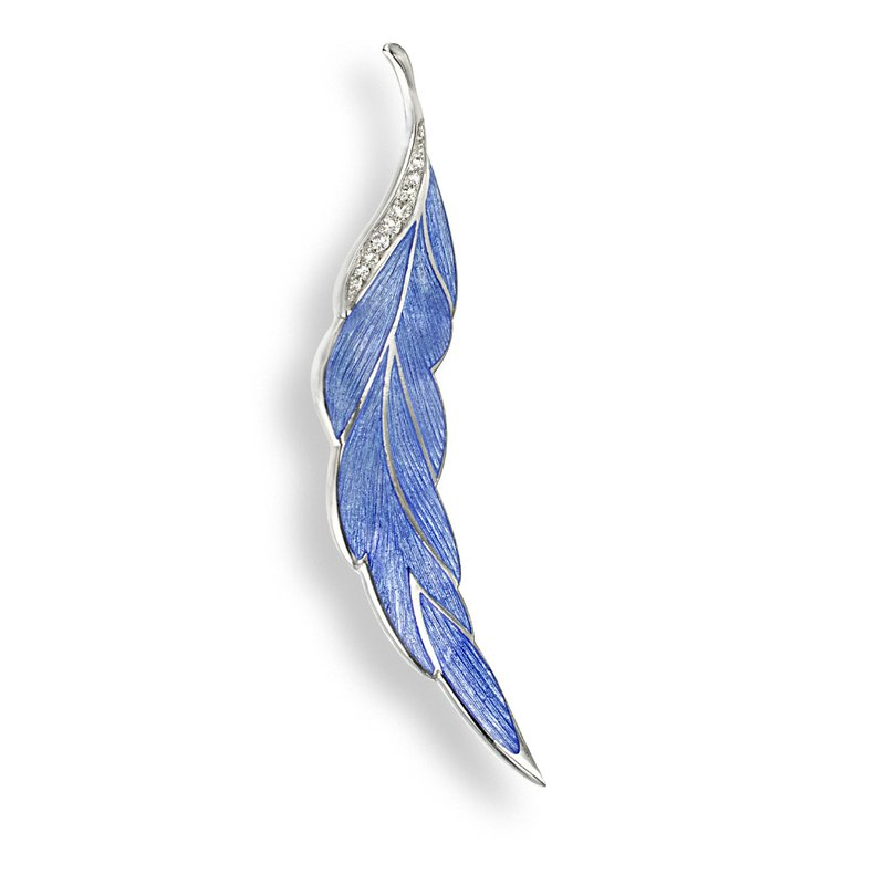Nicole Barr Designs Blue Leaf Brooch-Pendant.Sterling Silver-White Sapphires