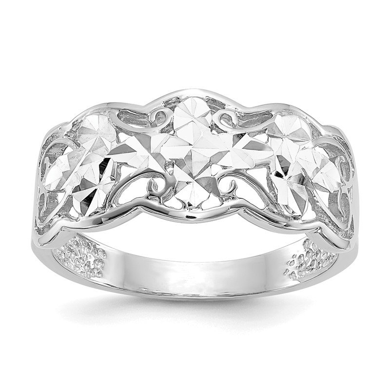 Quality Gold 14k White Gold Diamond-cut Wave Ring