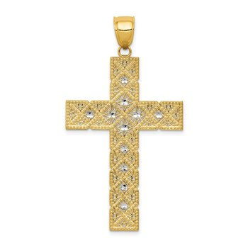 14K w/Rhodium Latin Cross Pendant