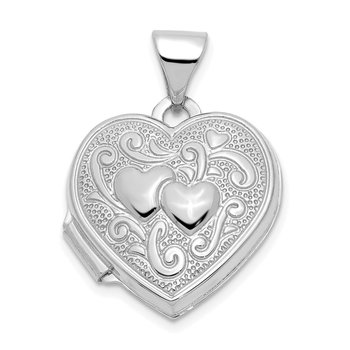 14k White Gold Double Heart Locket