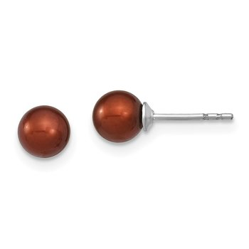 Sterling Silver Rh-plated 5-6mm Coffee FW Cultured Round Pearl Stud Earring